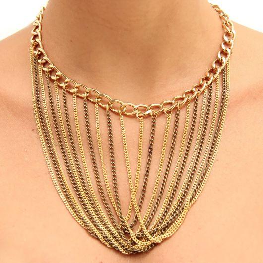 maxi colar de ouro correntes