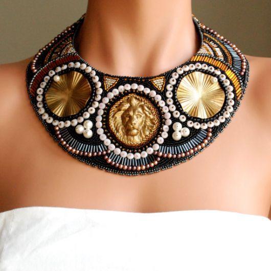 maxi colar dourado cleopatra