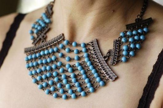 maxi colar estilo egípcio
