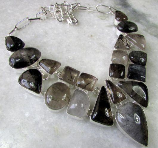 maxi colar prata com pedras naturais