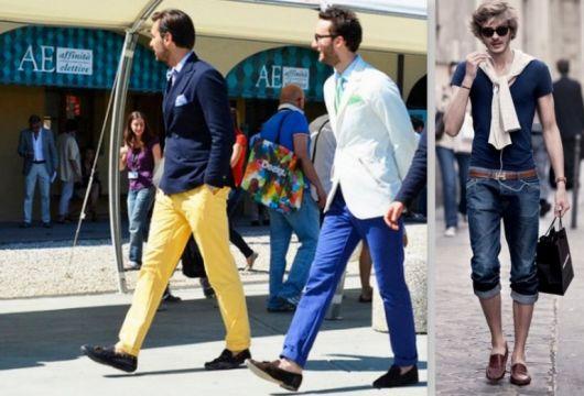 mocassim e calça colorida