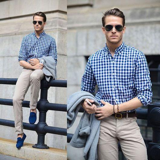 mocassim masculino look com calça e camisa