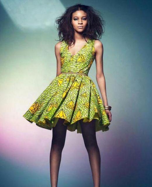 vestido verde na moda africana