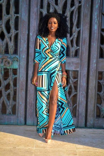 moda africana com vestidos de fenda