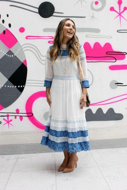vestido vintage branco e azul
