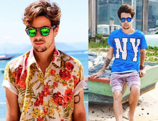 moda praia masculina camisa estampada