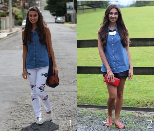 regata jeans com calça ou shorts