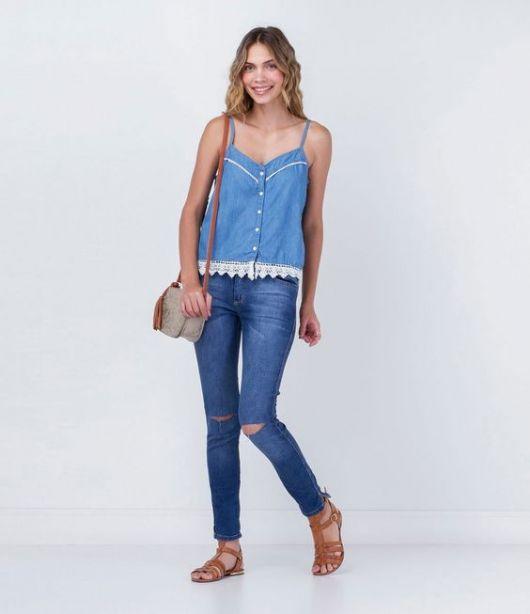 regata jeans com renda