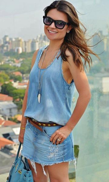 regata jeans com saia jeans