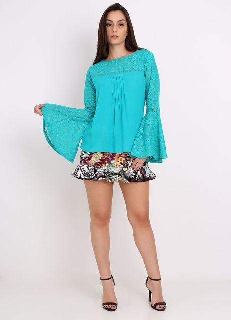 blusa flare e saia