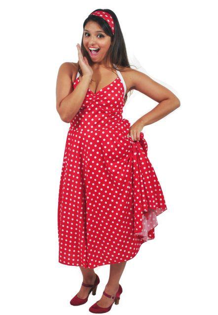 vestido vermelho poá