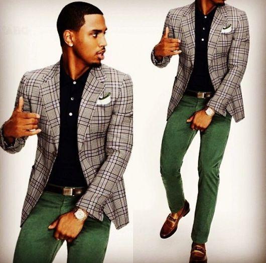 blazer xadrez com calça verde