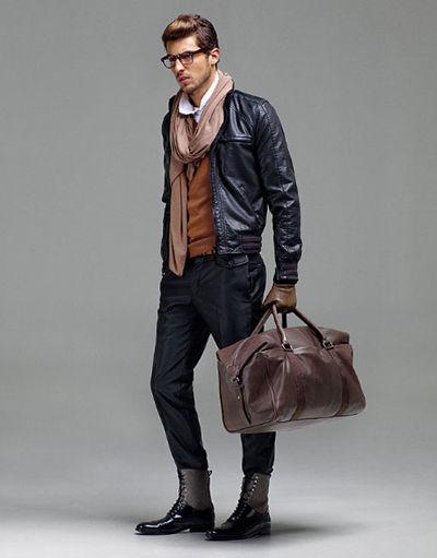 roupas estilosas masculinas de couro look inverno