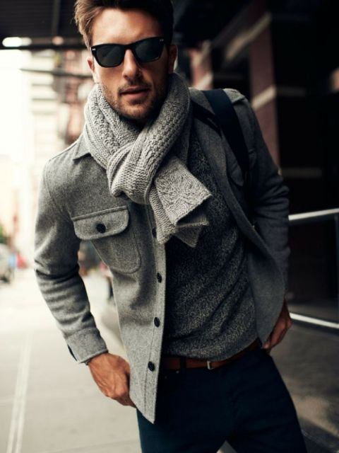 roupas estilosas masculinas com lã cinza
