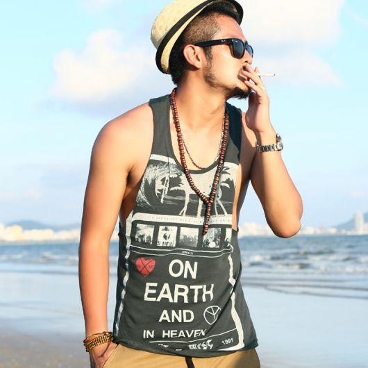 look praia com roupas masculinas estilosas