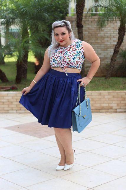 saia com cropped moda plus size