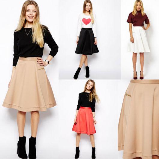 varios modelos de saia midi