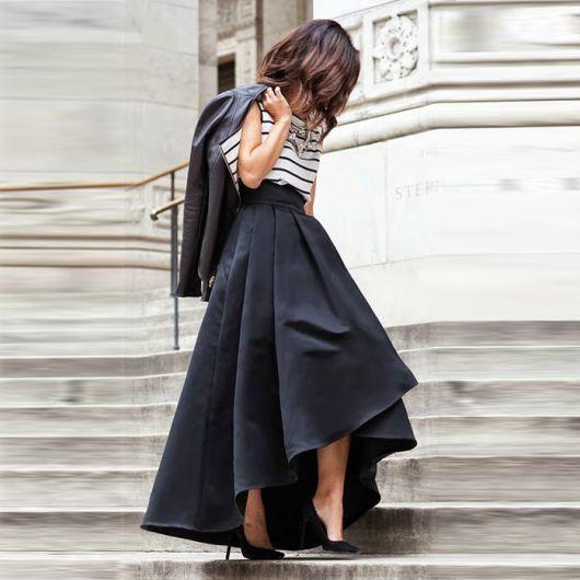 saia longa preta assimetrica