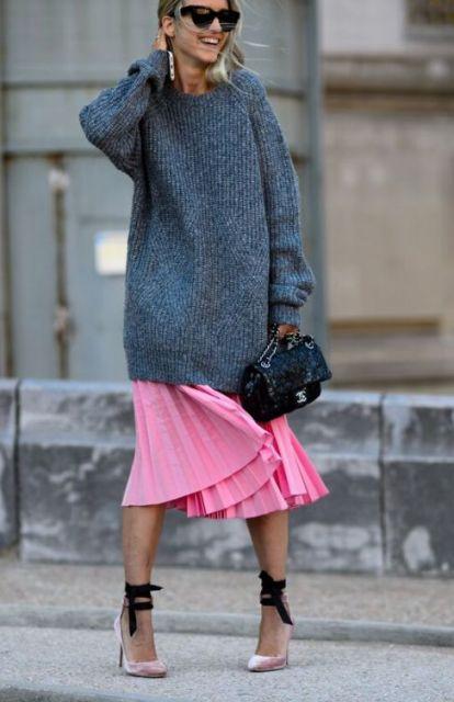 saia plissada com casaco de inverno