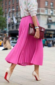 saia plissada rosa pink