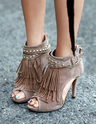 sandália de franja meia pata