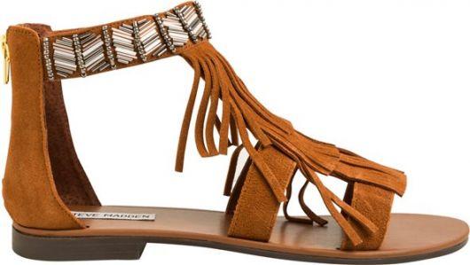sandália de franja rasteirinha marrom