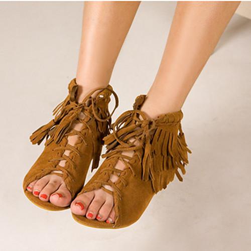 sandália de franja marrom sem salto