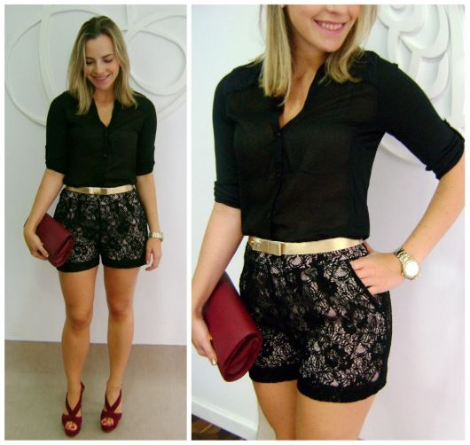 short de renda balada