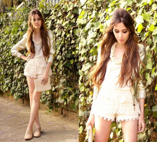 short de renda look nude