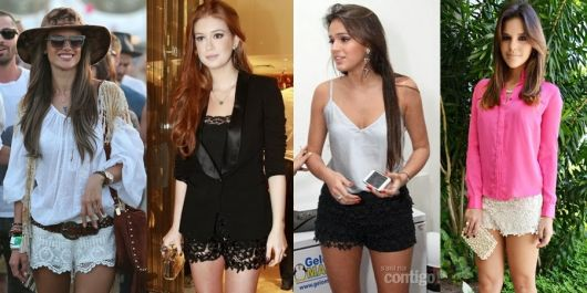 short de renda looks das famosas