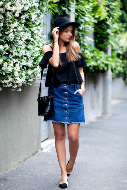 saia jeans curta no street style