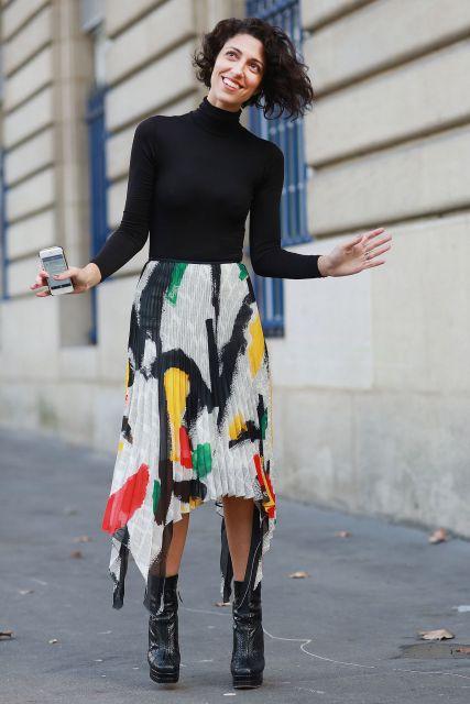 street style com saia estampada