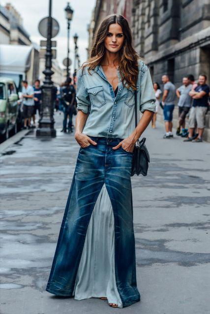 saia longa jeans no street style