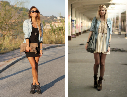 casacos e vestidos na moda street style