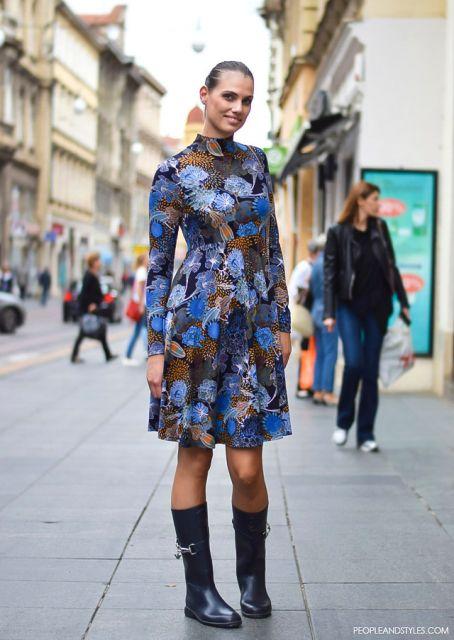 street style vestidos com bota cano alto
