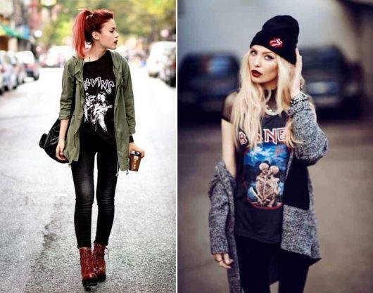 exemplo de t-shirt feminina rock