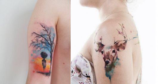 exemplo de tatuagem aquarela victor octaviano
