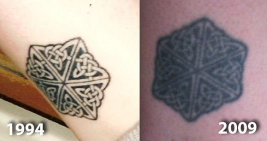 exemplo de tatuagem desbotada