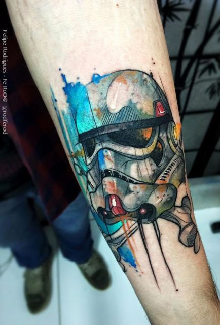 exemplo de tatuagem aquarela masculina
