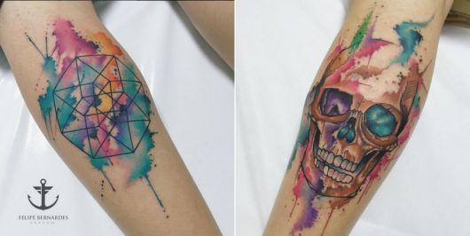 exemplo de tatuagem aquarela felipe bernardes