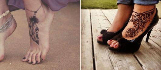 exemplo de tatuagem no pé feminina grande