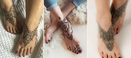 exemplo de tatuagem no pé feminina de mandala