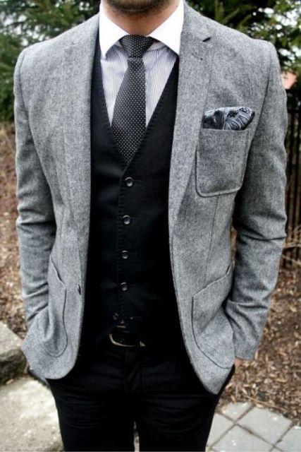 terno slim fit masculino colete