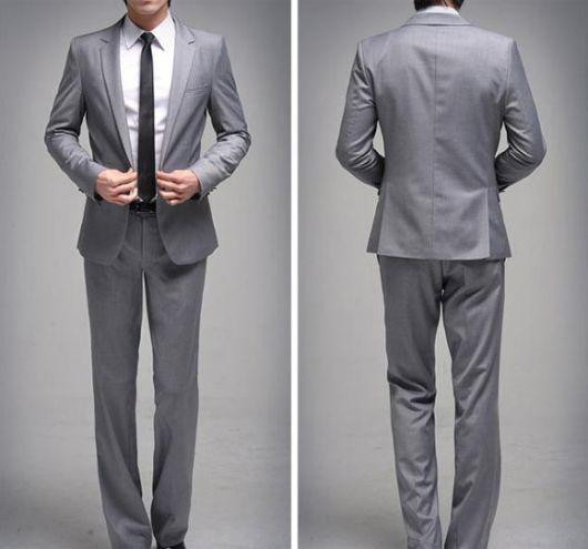 terno slim fit masculino prata