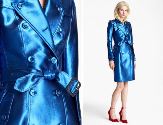 trench coat azul metálico