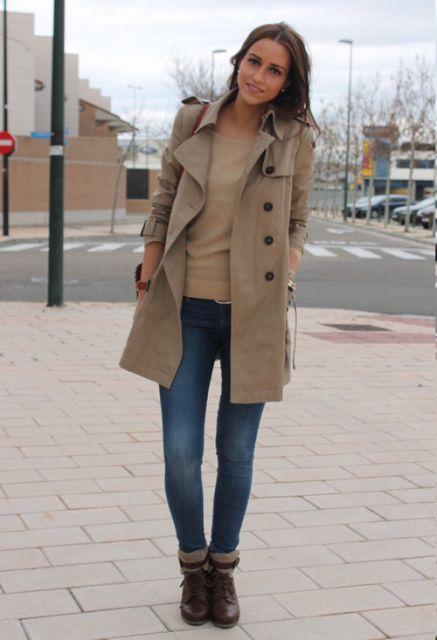 trench coat botas