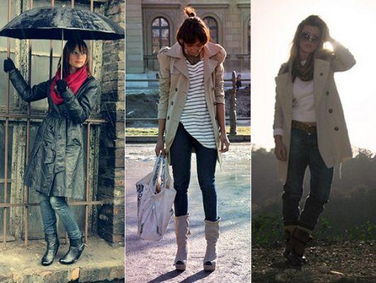 trench coat calça jeans e bota
