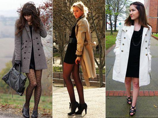 trench coat com vestido