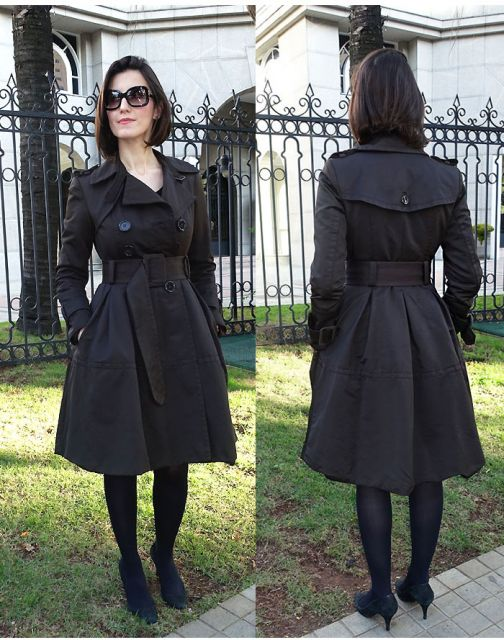 trench coat look preto