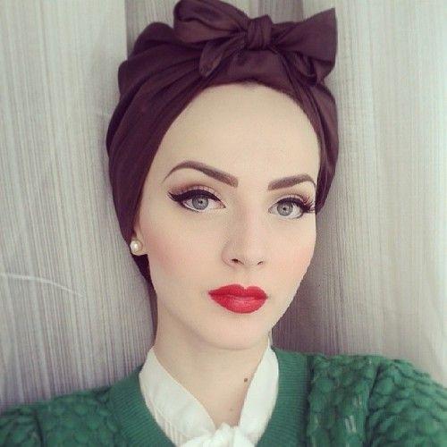 como usar turbante com maquiagem